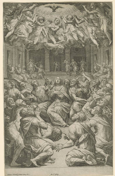 Holy Ghost Drawing - Outpouring Of The Holy Spirit, Cornelis Cort by Cornelis Cort And Giorgio Vasari And Giovanni Orlandi