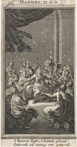 Holy Ghost Drawing - Outpouring Of The Holy Spirit, Jan Luyken by Jan Luyken And Anonymous