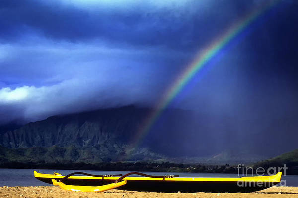 Photograph - Outrigger Canoe And Rainbow by Thomas R Fletcher