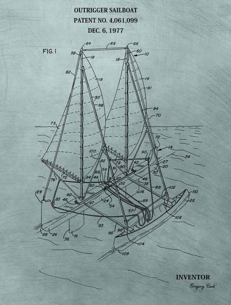 Mixed Media - Outrigger Sailboat Patent by Dan Sproul