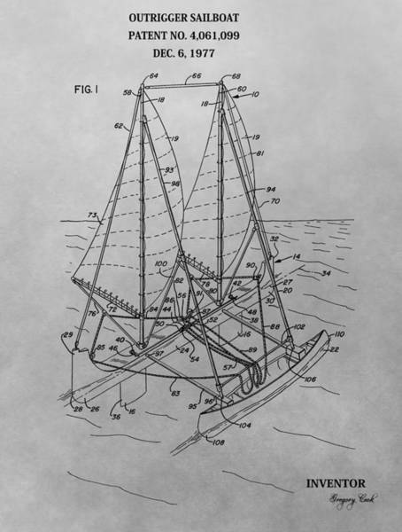 Drawing - Outrigger Sailboat Patent Drawing by Dan Sproul