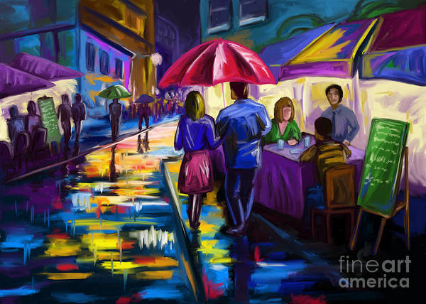 Walking In The Rain Wall Art - Painting - Outside Cafe by Tim Gilliland