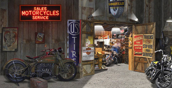 Shop Photograph - Outside The Motorcycle Shop by Mike McGlothlen