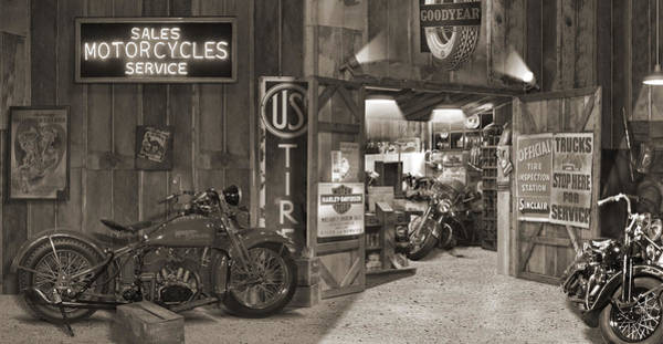 Motorcycle Photograph - Outside The Old Motorcycle Shop - Spia by Mike McGlothlen