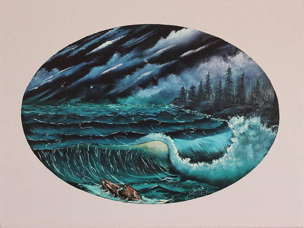 Painting - Oval Ocean View by Bob Williams