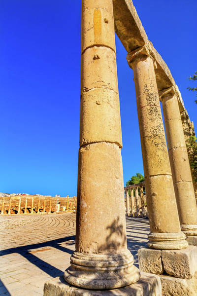 Jerash Photograph - Oval Plaza, 160 Ionic Columns by William Perry