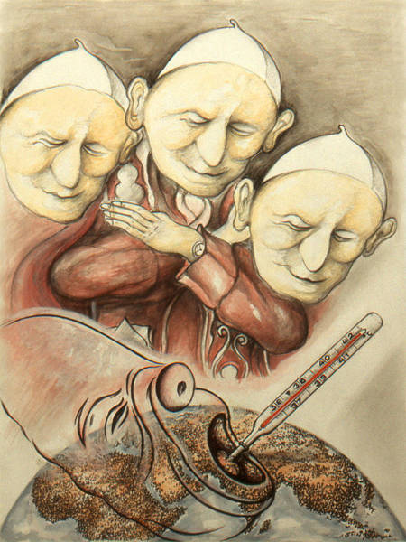 Drawing - Over-pope-ulation - Cartoon Art by Peter Potter