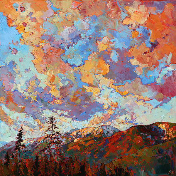Mountain Range Painting - Over The Crest by Erin Hanson