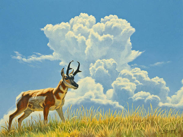 Yellowstone Wall Art - Painting - Over The Rise by Paul Krapf
