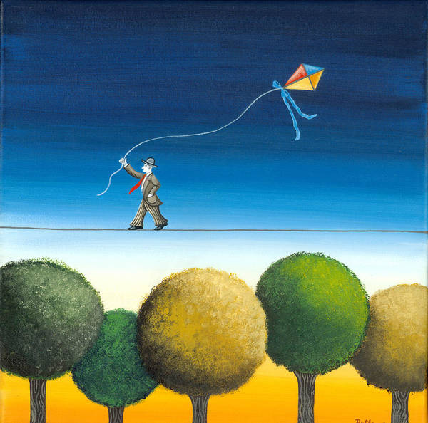 Kite Wall Art - Painting - Over The Trees by Graciela Bello