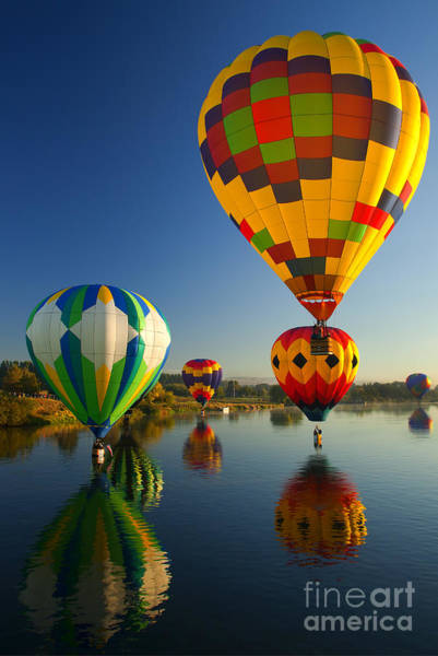 Hot Air Balloons Photograph - Over The Water by Mike  Dawson
