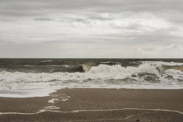 Photograph - Overcast And Rip Tide Warning by Judy Hall-Folde