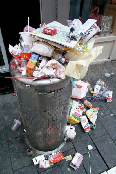 Rubbish Bin Photograph - Overflowing Litter Bin by Chris Martin-bahr/science Photo Library