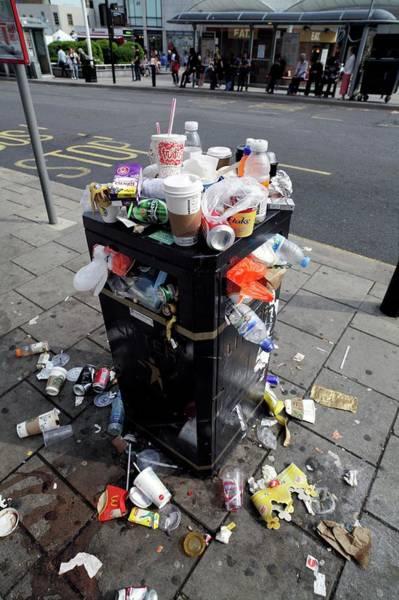 Rubbish Bin Photograph - Overflowing Litter Bin by Martin Bond/science Photo Library