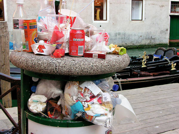 Rubbish Bin Photograph - Overflowing Litter Bin by Tony Craddock/science Photo Library