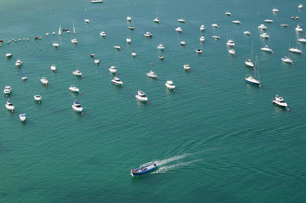 Mode Of Transport Photograph - Overhead Of Boats In Port by Aldo Pavan