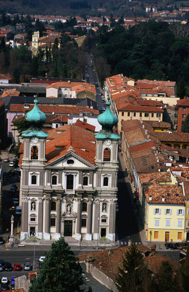 Friuli Photograph - Overhead Of City Buildings With Duomo by Max Paoli