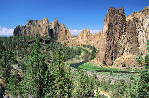 Crooked River Photograph - Overhead Of Crooked River And Bluffs by John Elk
