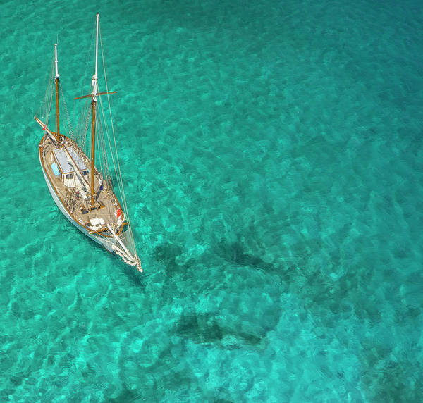 Sailboat Photograph - Overhead View Of A Sailboat, Caribbean by Skyhighstudios