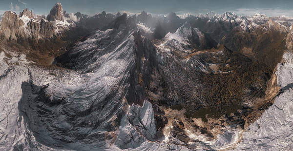 Dolomites Photograph - Overlooking Geisler Gruppe by Stan Huang