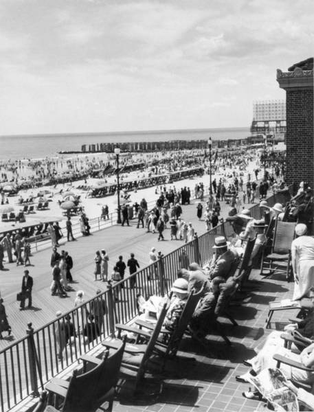 Thoroughfare Photograph - Overlooking The Boardwalk by Underwood Archives