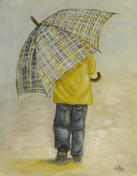 Walking In The Rain Wall Art - Painting - Oversized Umbrella by Kelly Mills