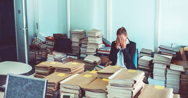 Overworked Office Worker, Bureaucracy, Archives Art Print by Matjaz Slanic