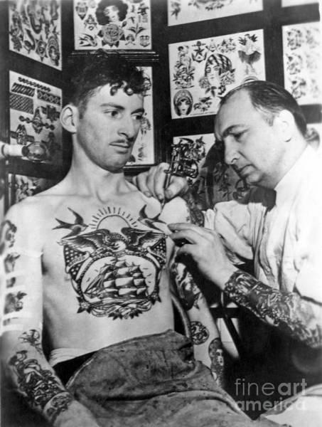 Tats Wall Art - Photograph - Owen Jensen Tattoo Artist Vintage  by Larry Mora