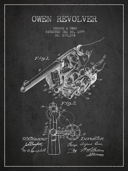 Weapons Digital Art - Owen Revolver Patent Drawing From 1899- Dark by Aged Pixel