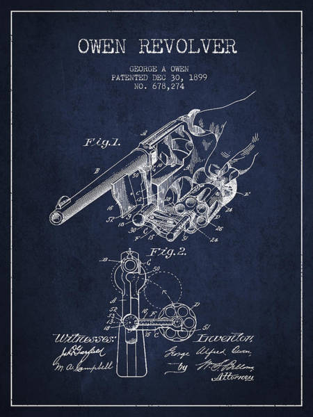 Weapons Digital Art - Owen Revolver Patent Drawing From 1899- Navy Blue by Aged Pixel
