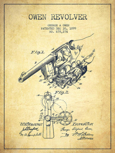Shooting Digital Art - Owen Revolver Patent Drawing From 1899- Vintage by Aged Pixel