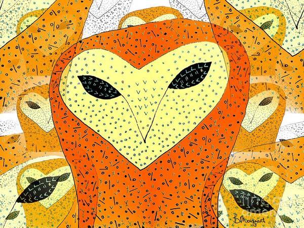 Avian Drawing - owl by Barbara Moignard