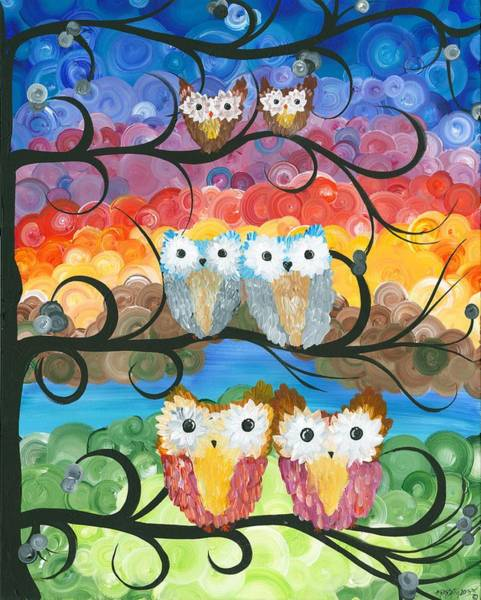 Painting - Owl Expressions - 00 by MiMi  Stirn