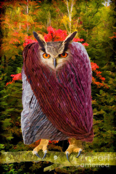 Photograph - Owl In Heavy Winter Coat - Painterly by Les Palenik