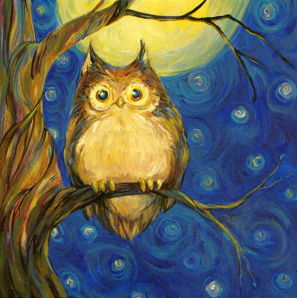 Owl Painting - Owl In Starry Night by Peggy Wilson