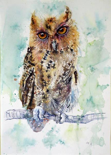Wild Life Painting - Owl In Tree by Kovacs Anna Brigitta