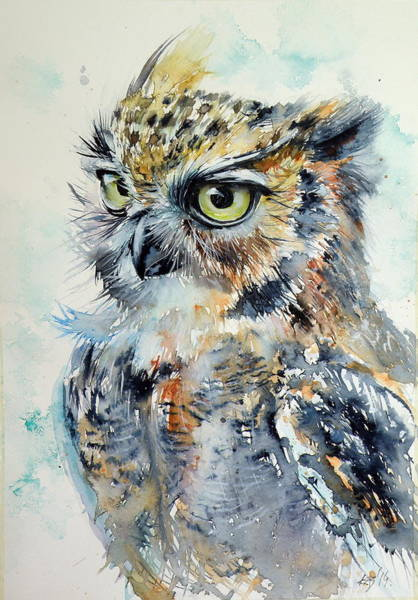 Wall Art - Painting - Owl by Kovacs Anna Brigitta