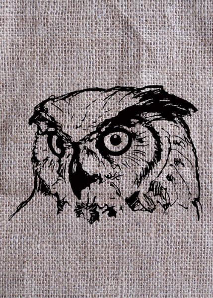 Digital Art - Owl On Burlap by Konni Jensen