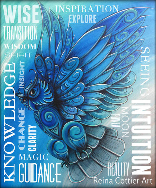 Clarity Painting - Owl Totem Wordart by Reina Cottier