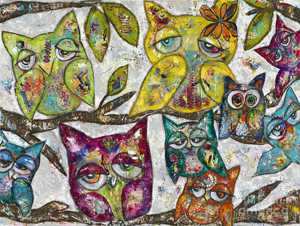 Wall Art - Painting - Owl Together by Kirsten Reed