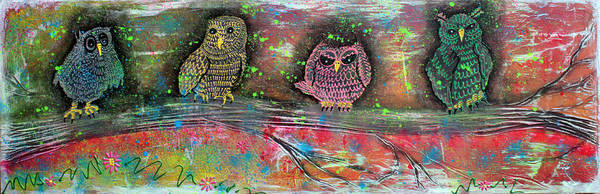 Wall Art - Painting - Owl Totem by Laura Barbosa