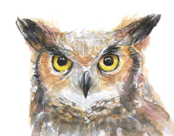 Wall Art - Painting - Owl Watercolor Portrait Great Horned by Olga Shvartsur