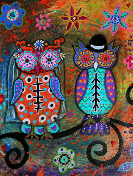 Wall Art - Painting - Owl Wedding Dia De Los Muertos by Pristine Cartera Turkus