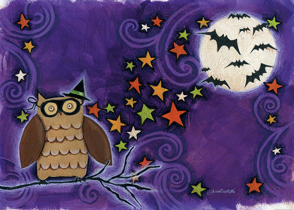 Full Moon Painting - Owl With Mask by Anne Tavoletti