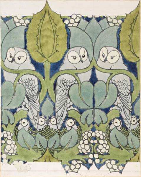 Or Wall Art - Painting - Owls, 1913 by Charles Francis Annesley Voysey