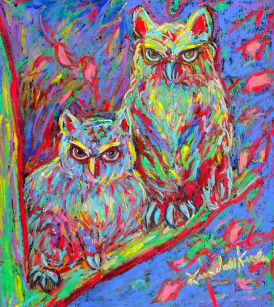Painting - Owls Electric by Kendall Kessler