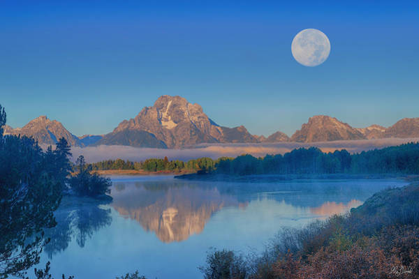 Photograph - Oxbow Bend Moonset Limited Edition by Greg Norrell