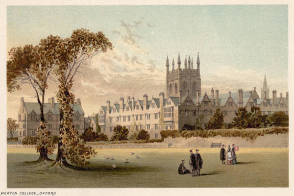 College Campus Painting - Oxford Merton College by Granger