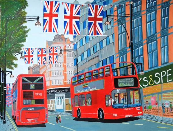 Spencer Shops Painting - Oxford Street- Queen's Diamond Jubilee  by Magdalena Frohnsdorff