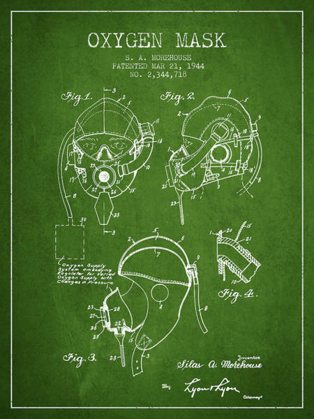 Mask Digital Art - Oxygen Mask Patent From 1944 - Green by Aged Pixel